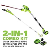 Greenworks 8 Inch 40V Cordless Pole Saw with Hedge Trimmer Attachment 2.0 AH Battery Included...