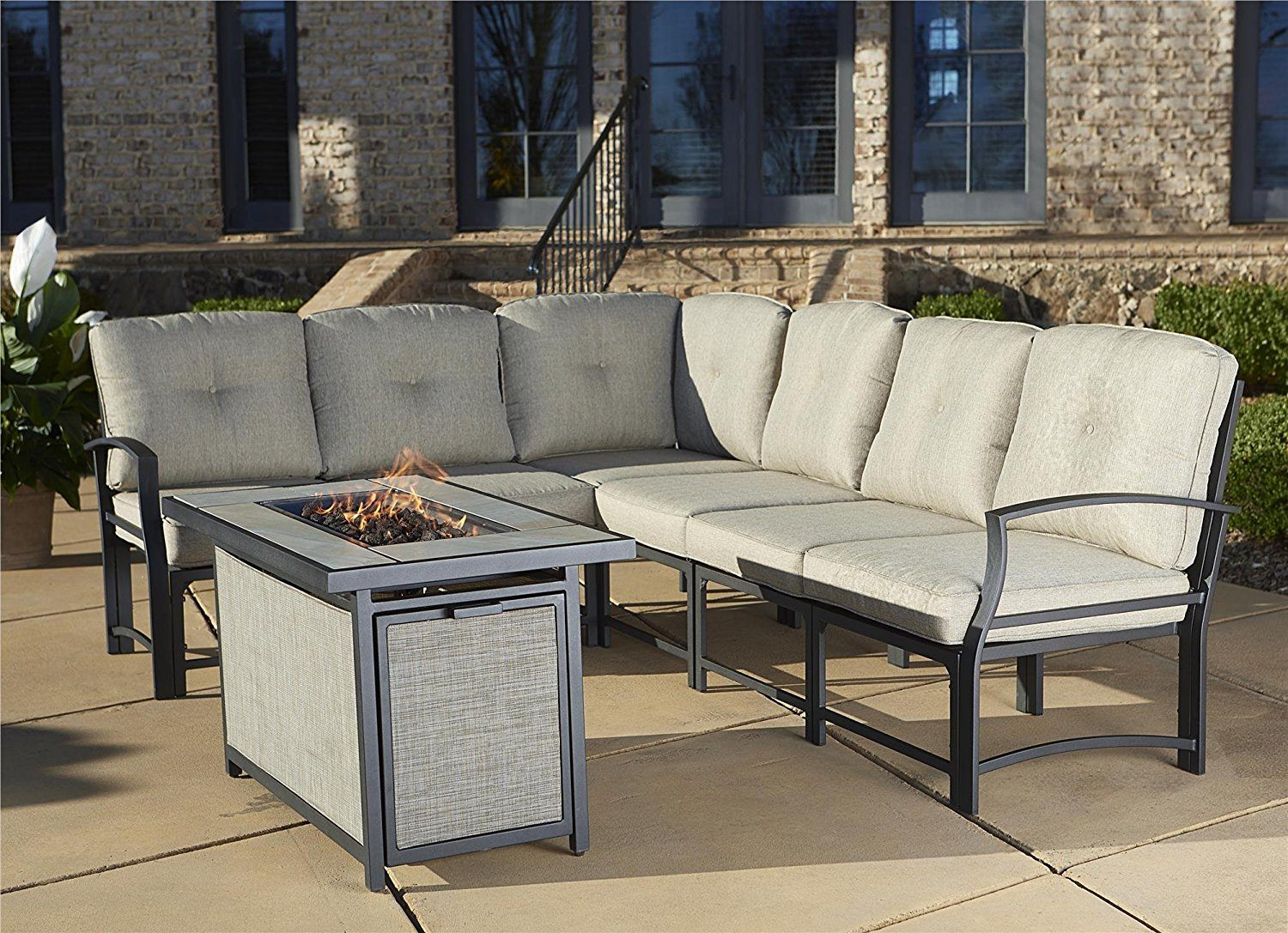 Cosco Outdoor Serene Ridge Aluminum Gas Fire Pit Table