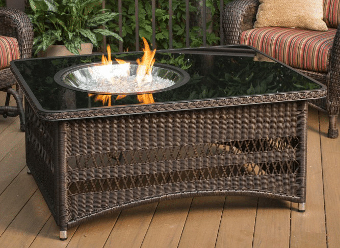 Outdoor GreatRoom Company Naples 48-Inch Rectangular Propane Gas Fire Pit Table with 20-Inch Round Crystal Fire Burner