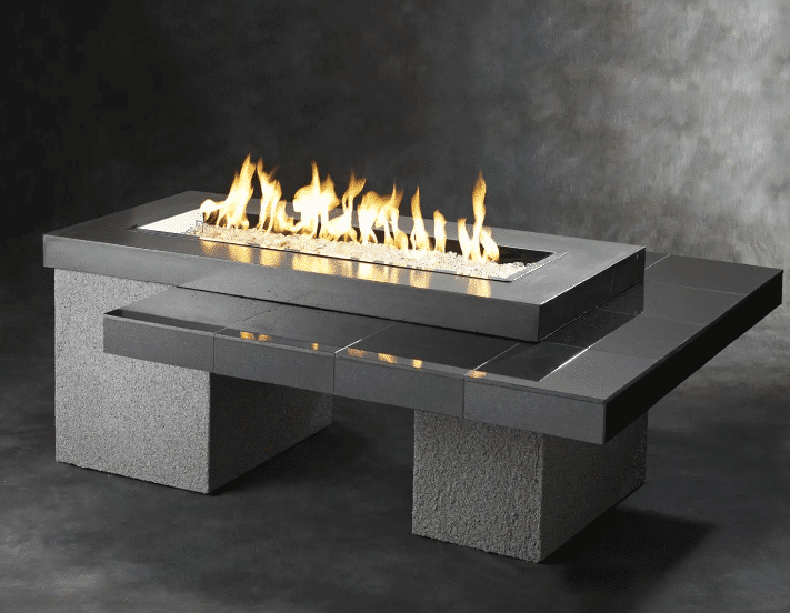 The Outdoor GreatRoom Company Uptown Black Fire Pit Table Rectangle