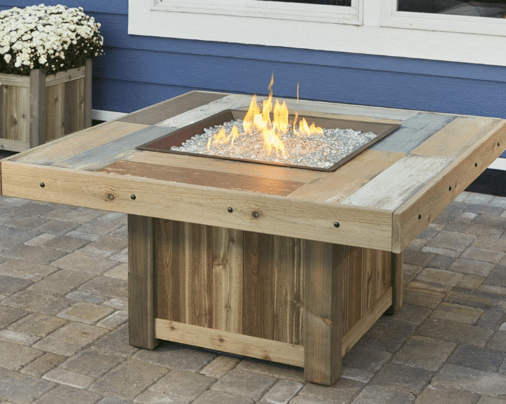 The Outdoor GreatRoom Company Vintage Wood Fire Pit Table Square