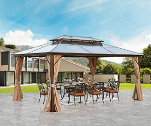 YOLENY 10' X 13' Hardtop Gazebo Galvanized Steel Outdoor Gazebo Canopy Double Vented Roof Per